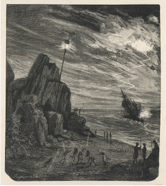 engraving of a fictional wrecking scene
