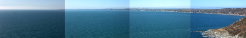 view from Rame Head west towards Freathy, Tregantle, Portwrinkle, Seaton, Looe and headlands out to the Lizard