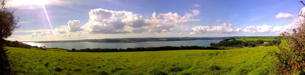 view from the fields adjacent to the A3078 between St Just and St Mawes, looking across the Carrick Roaads towards Falmouth, Trefusis and Mylor