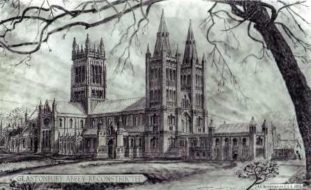 illustrative reconstruction of Glastonbury Abbey (http://clasmerdin.blogspot.co.uk/2011/11/last-abbot-of-glastonbury.html)